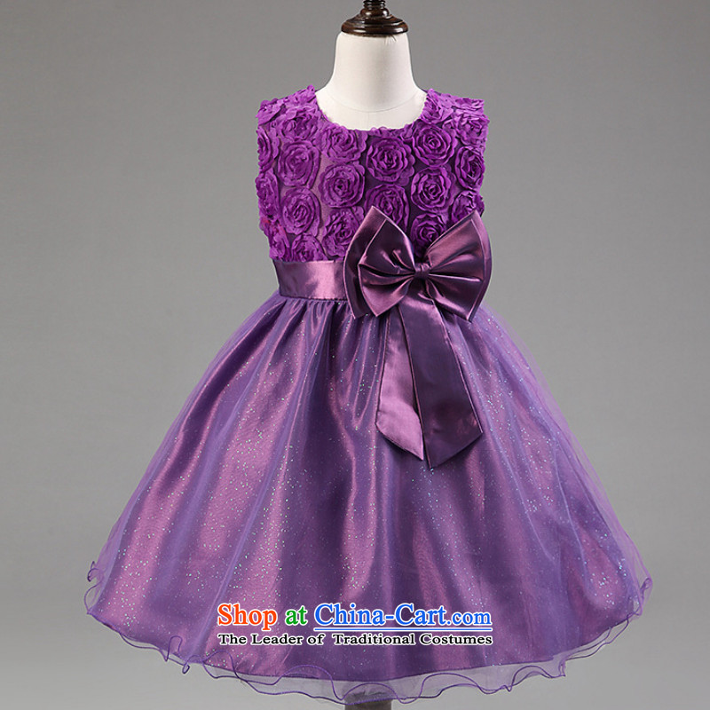 Children Summer New Flower Girls bridesmaid dress dances to girls flowers lace will bow tie dresses purple 160