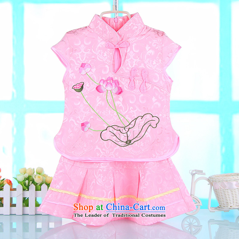The point of the girl child and Tang dynasty summer short-sleeved dress kit children improved qipao baby princess skirt dance wearing a pink 100 child care