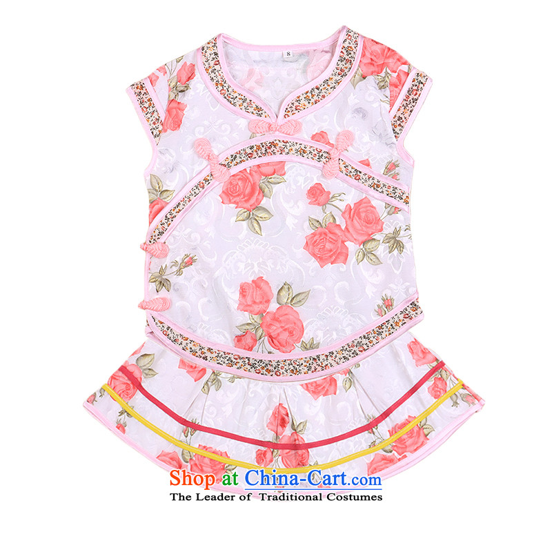 The point and children qipao Tang dynasty girls cheongsam dress cotton jacquard dresses summer summer baby child care services clothing red 100 National