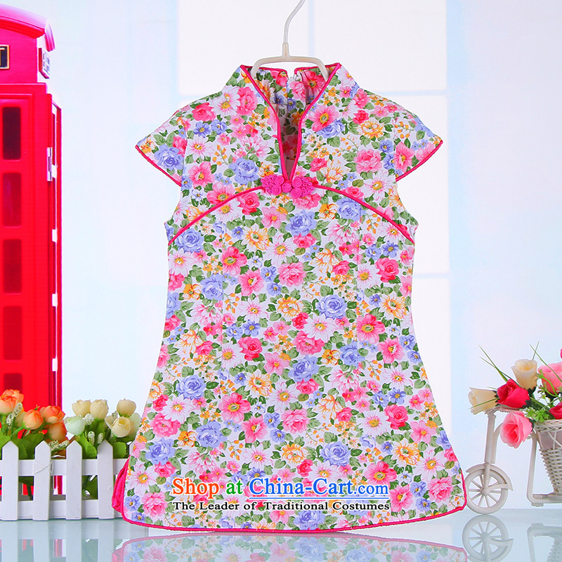 2015 Skirt Summer Children qipao Tang dynasty girl child guzheng CUHK will pure cotton Chinese Pink110