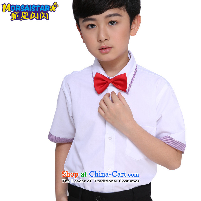 The sparkling waters of children's wear Tong Xing children shirt new boys Korean summer shirts of small and medium-sized child purple shirt collar sent the red 110