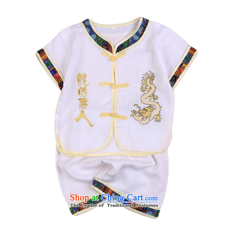 2015 New Child Tang Dynasty Chinese baby boy Tang dynasty short-sleeved Tang casual ethnic summer our 4676th White 110