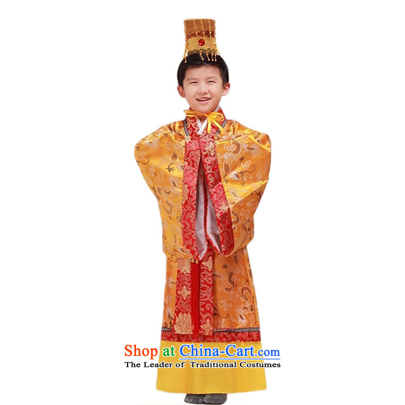 Adjustable leather case package children Han-men and ancient costumes and king will Yellow 160cm