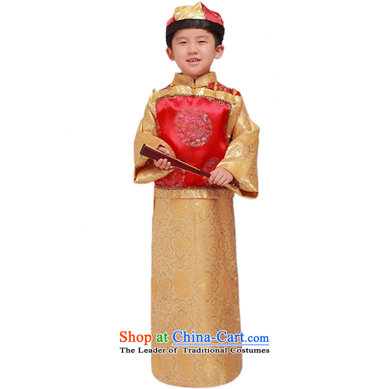 Adjustable leather case package children costume Bailey little master services of services and service in the Qing dynasty fashion photography costumes will ancient Yellow聽150cm