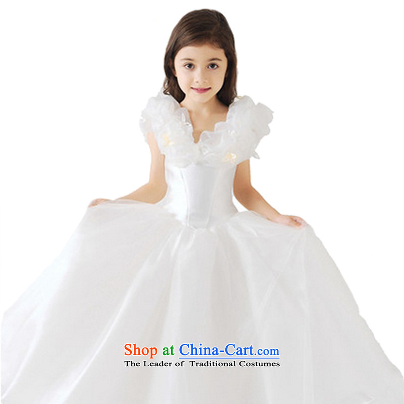 Adjustable leather case package children dress skirt girls princess performances showing the service skirt the same Cinderella Flower Girls short wedding dress bon bon skirt white聽150cm 聽tall 145-155cm recommendations