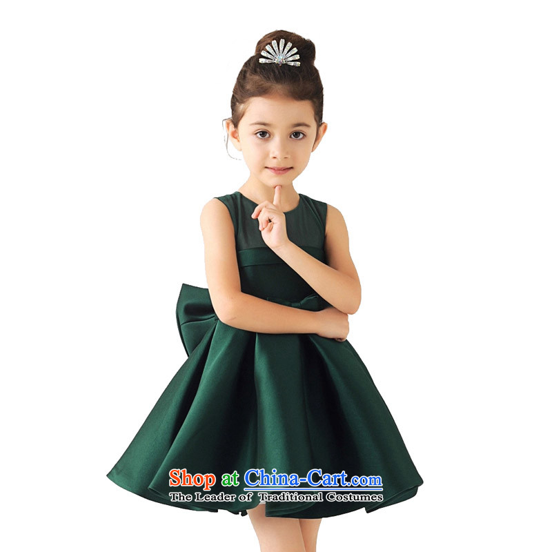 Adjustable leather case package children dress girls princess skirt Flower Girls dresses children wedding dress bon bon dress your baby will make serving the green 150cm