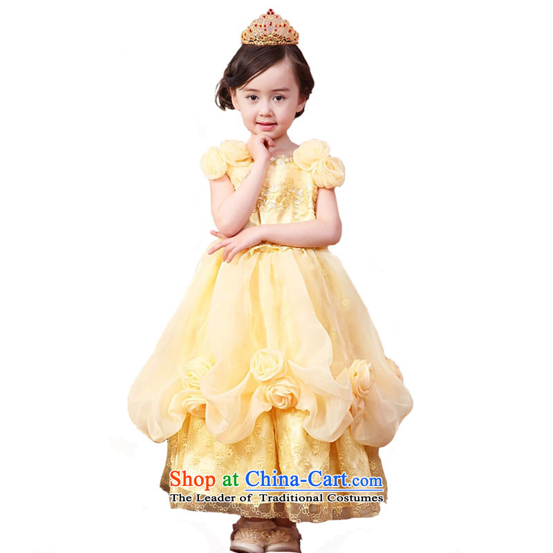 Adjustable leather case package girls dress skirt Princess Services Cinderella dress snow white yellow聽150cm