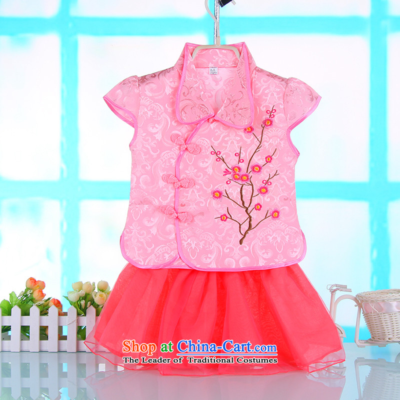 The point of Chinese New Child and show ^ Summer girls damask kit stamp short-sleeved Tang dynasty pink100