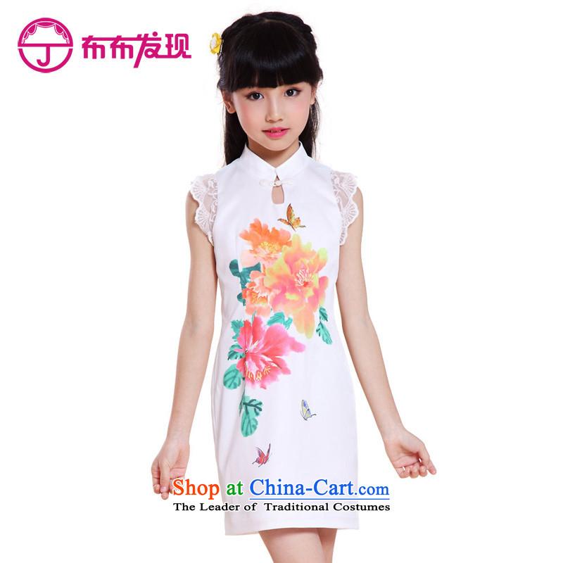 The Burkina found new children's wear children 2015 qipao girls cheongsam dress short-sleeved CUHK child Tang dynasty China wind summer 32505903 White160 code