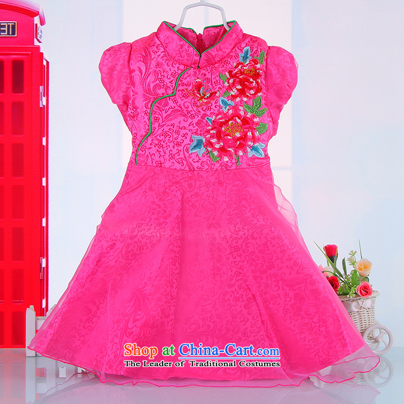 Children cheongsam dress girls summer bon bon Red Dress Tang dynasty princess suits bon bon skirt 61 guzheng will pink 120