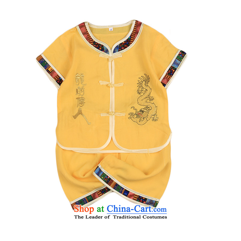 2015 New Child Tang Dynasty Chinese baby boy Tang dynasty short-sleeved Tang casual ethnic summer yellow 110