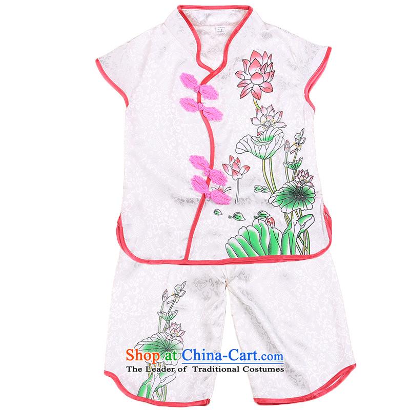 2015 new girls Tang Pack Children Summer Infant Garment short-sleeved shorts two kits White120