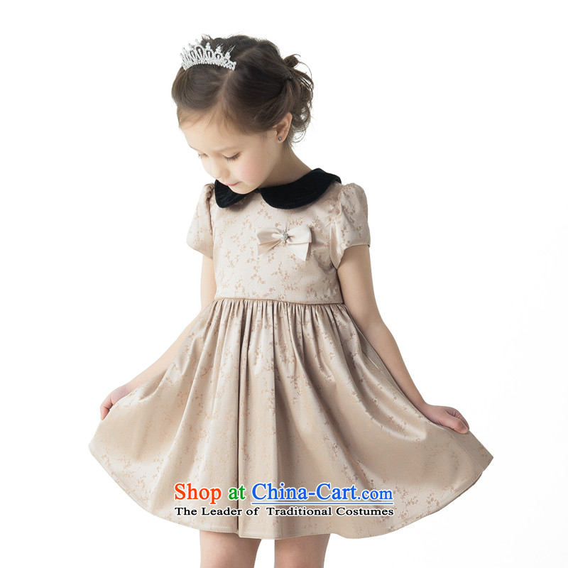 Po Jasmine children's apparel children princess dresses dress bon bon skirt princess skirt dresses Flower Girls will champagne color120 - chest 66 waist 64