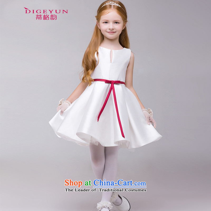 The following children dress girls wedding flower girls dress princess skirt Korean bon bon skirt summer 61 Will White?150