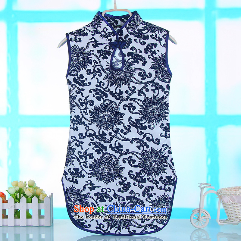 The baby girl new cheongsam summer porcelain pure cotton qipao Tang dynasty guzheng will dress porcelain Blue 140