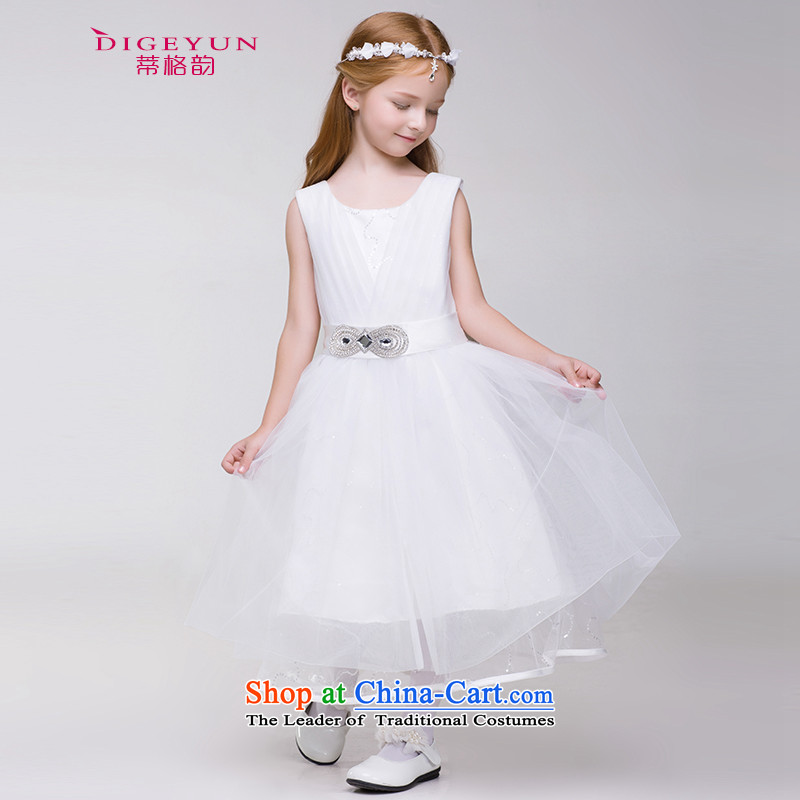 The following children dress Korean skirt Princess Flower Girls dress skirt 61 girls will wedding bon bon skirt White 150