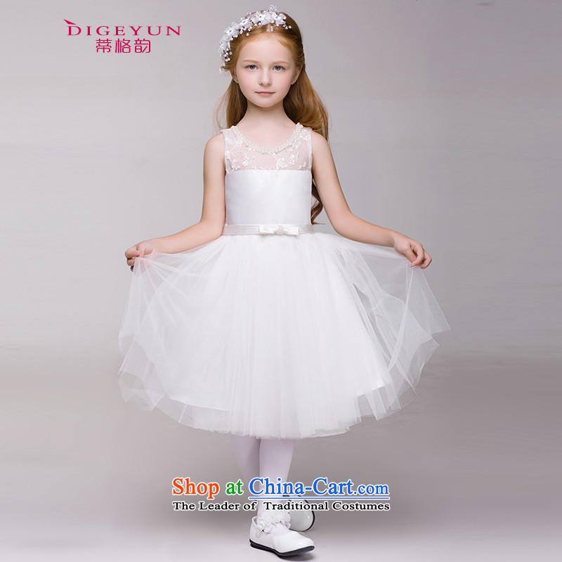 The following children dress skirt Korean Princess skirt girls show dress skirt Flower Girls wedding dress bon bon summer White 150