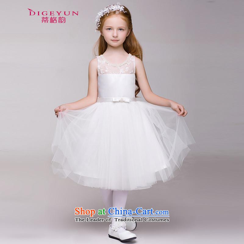 The following children dress skirt Korean Princess skirt girls show dress skirt Flower Girls wedding dress bon bon summer White150