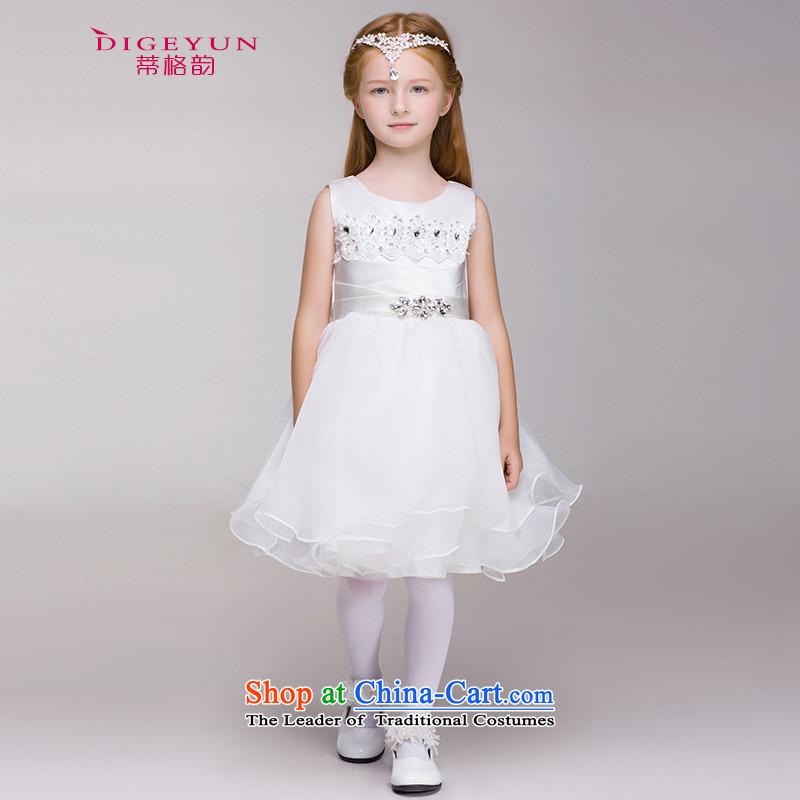The following children Korean style bright drill dress Princess Skirt 61 will girls wedding dress Flower Girls bon bon skirt White150