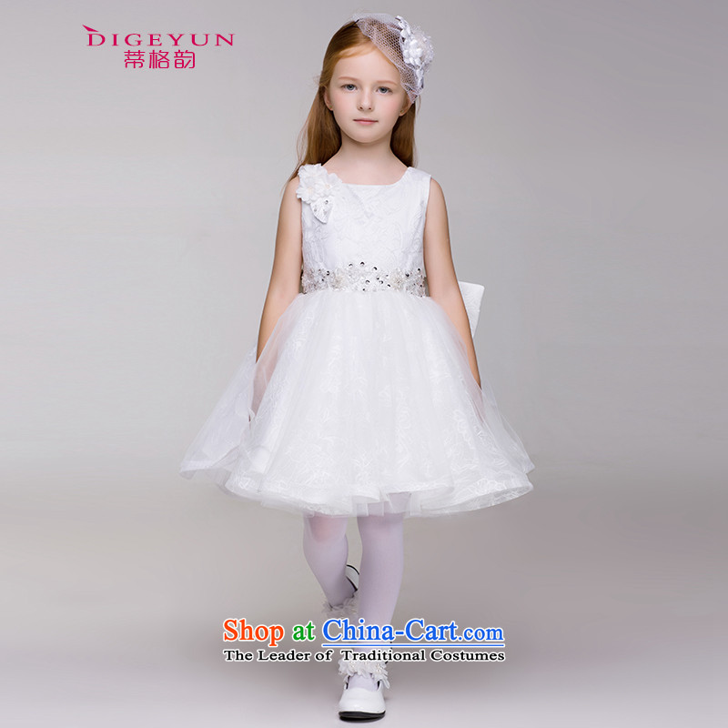 The following children 61 performances dress skirt Korean lace dress skirt 61 performances skirt Flower Girls bon bon skirt White 150