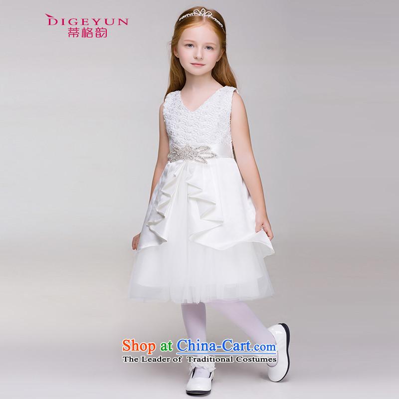 The following children dress lace on drill dress skirt girls white wedding dress skirt Flower Girls Princess skirt summer White�150