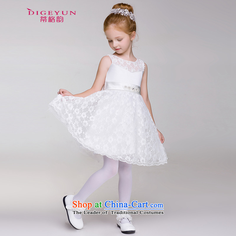 The following children dress Korean lace dress skirt 61 children's apparel wedding dress cluster bon bon skirt summer White 150