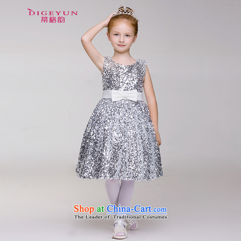 The following on-chip princess children dress of children's wear skirts female bon bon skirt summer girls wedding dress 61 will silver 150