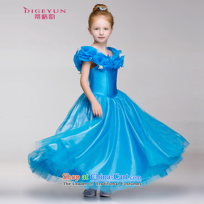 The following girls dress Cinderella Princess skirt flower girl children 61 will bon bon skirt summer Blue 120