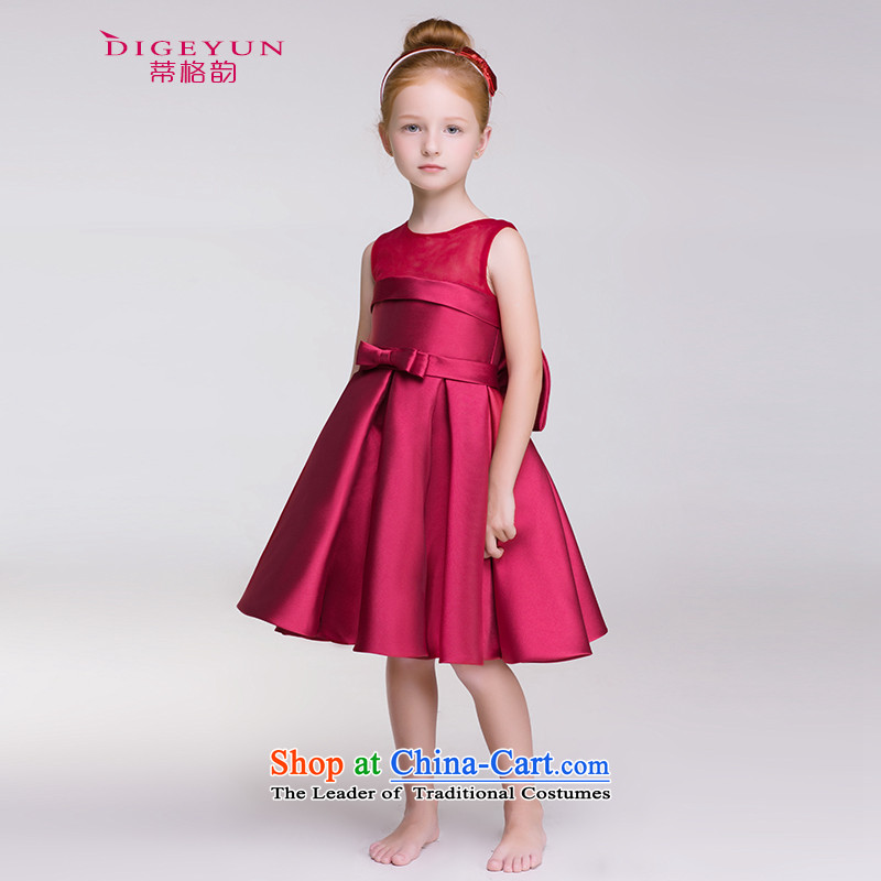 The following children dress wine red bow tie princess skirt flower girl children will dress skirt spring and summer wine red?140
