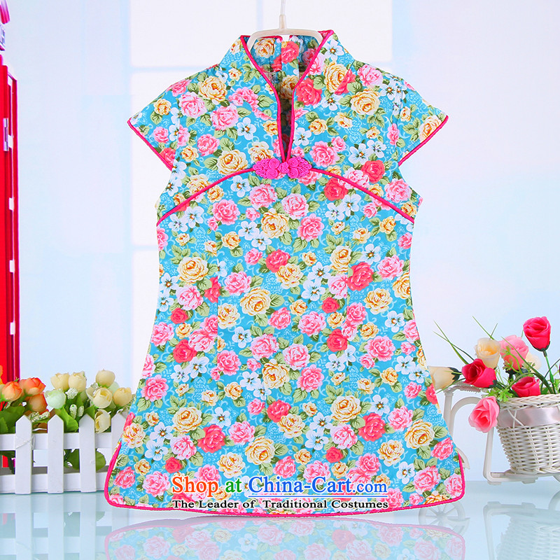 The point and Tang dynasty girls dress summer CUHK child children loaded cheongsam dress cheongsam embroidery pure cotton toner guzheng performances showing the service Blue 110