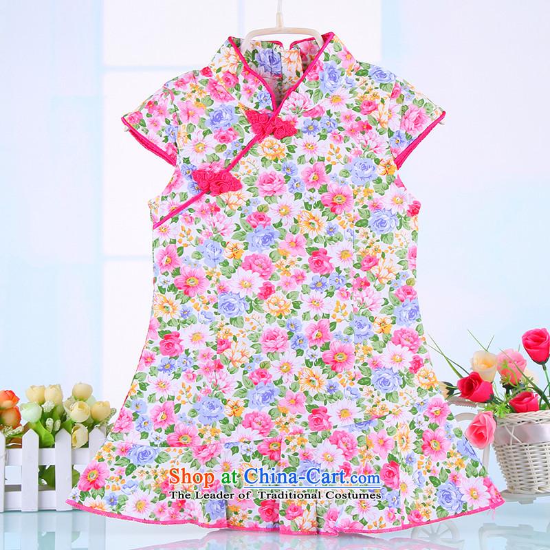 The point and the NEW Summer Children qipao girls Tang dynasty princess skirt ethnic pure cotton saika little girl Da Tong Zheng costumes pink聽120