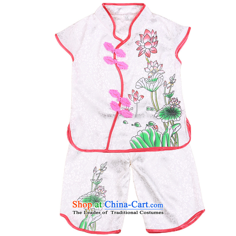 The new Cool Summer Children Tang Gown embroidered lotus girls short-sleeve kit summer stage costumes will children's wear dresses White130
