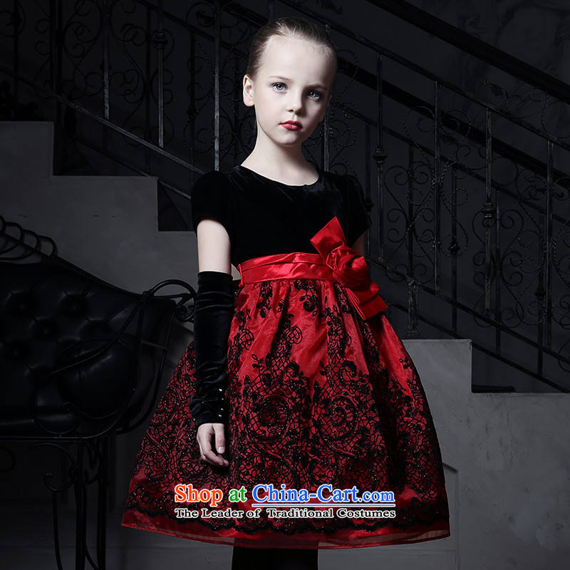 Love of Ko Yo Girl children dress skirt princess skirt wedding flower girl child bon bon skirt small moderator dress Red _not including gloves_ 150
