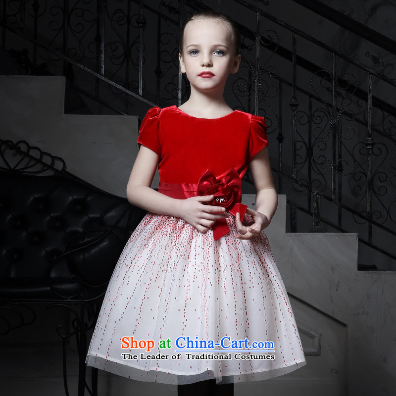 Love of Ko Yo children dress skirt Flower Girls dress girls princess skirt bon bon skirt red wedding dress small moderator will Red聽160