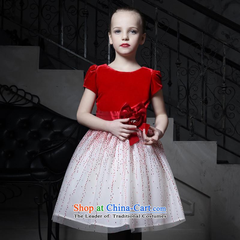 Love of Ko Yo children dress skirt Flower Girls dress girls princess skirt bon bon skirt red wedding dress small moderator will Red160