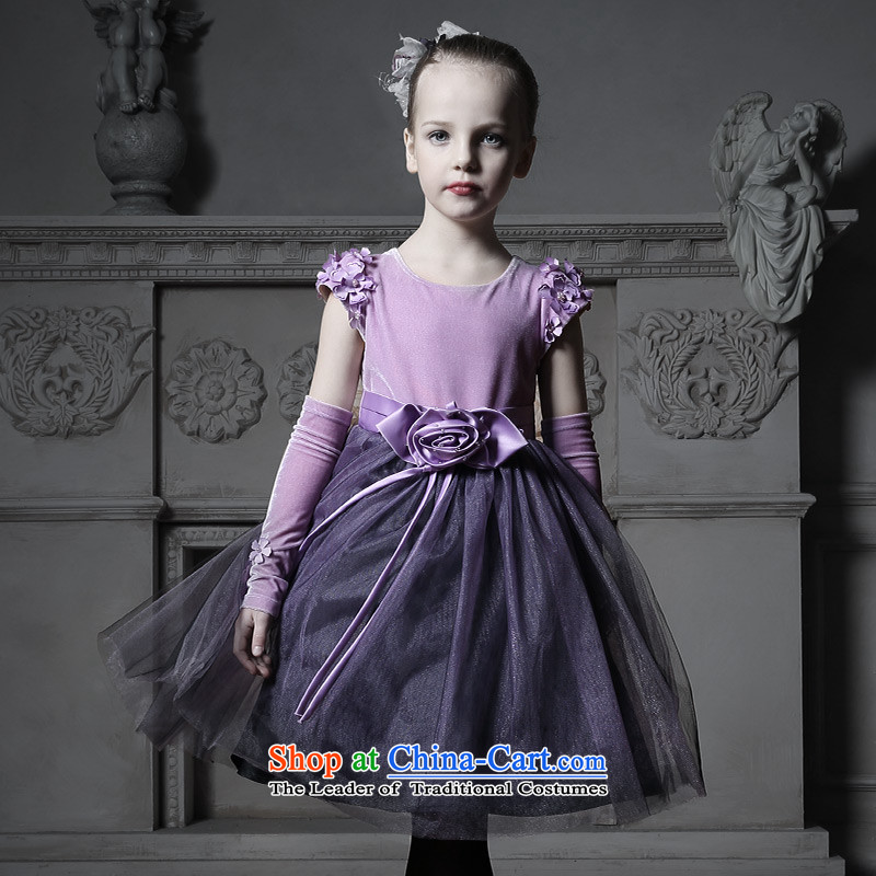 Love of Ko Yo children dress skirt princess skirt girls Flower Girls Wedding Dress Flower Girls dresses purple (no glove) 140