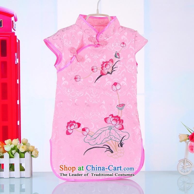 15 girls qipao Summer Children Tang dynasty princess dresses female babies little girl owara costumes 4520 pink140