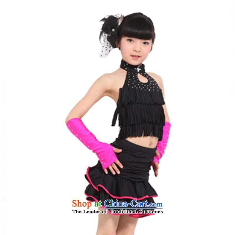 Children Latin dance costumes and children Latin dance performances to Latin dance skirtTZ5108-0101black120cm
