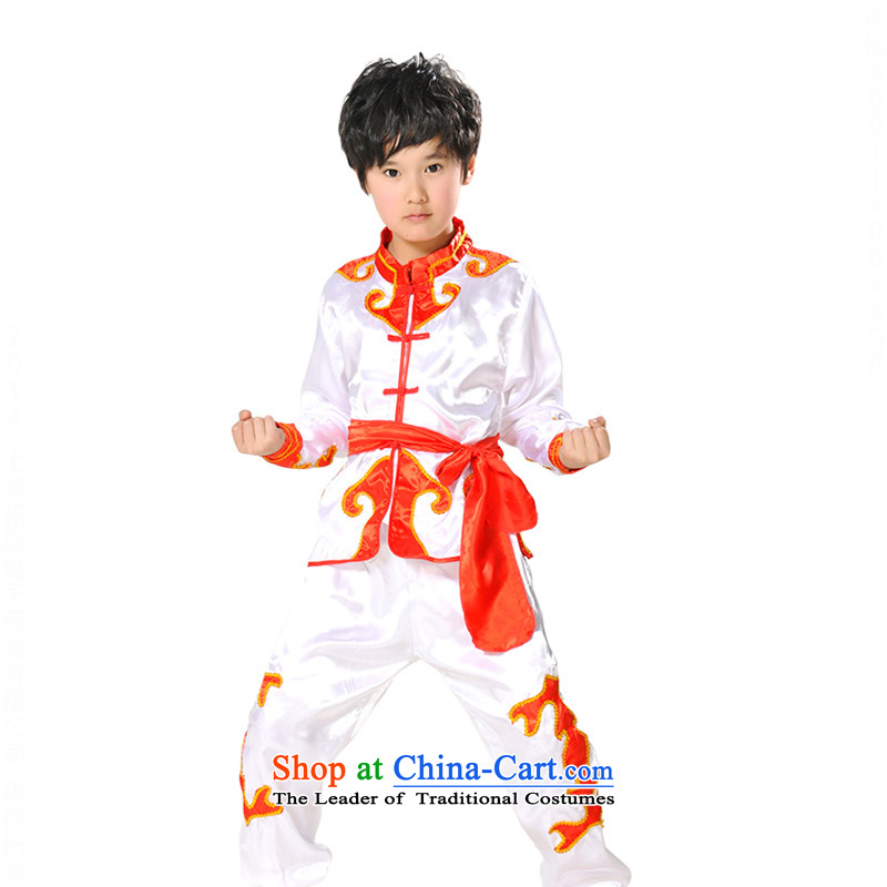 Children will exercise clothing boy martial arts performance services package service kung fu shirt TZ5108-0104 Taijiquan White 140cm