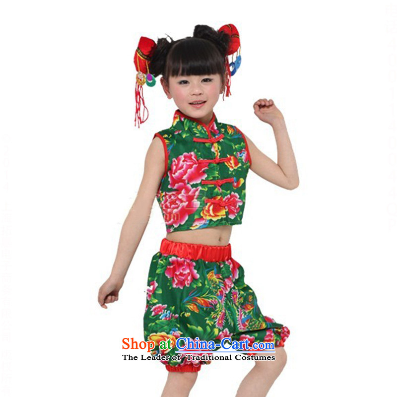 Children dance folk dance costume service clothing girls victimized TZ5108-0107 serving the green (Song and Dance headdress plus 6) recommended height 130 to 140