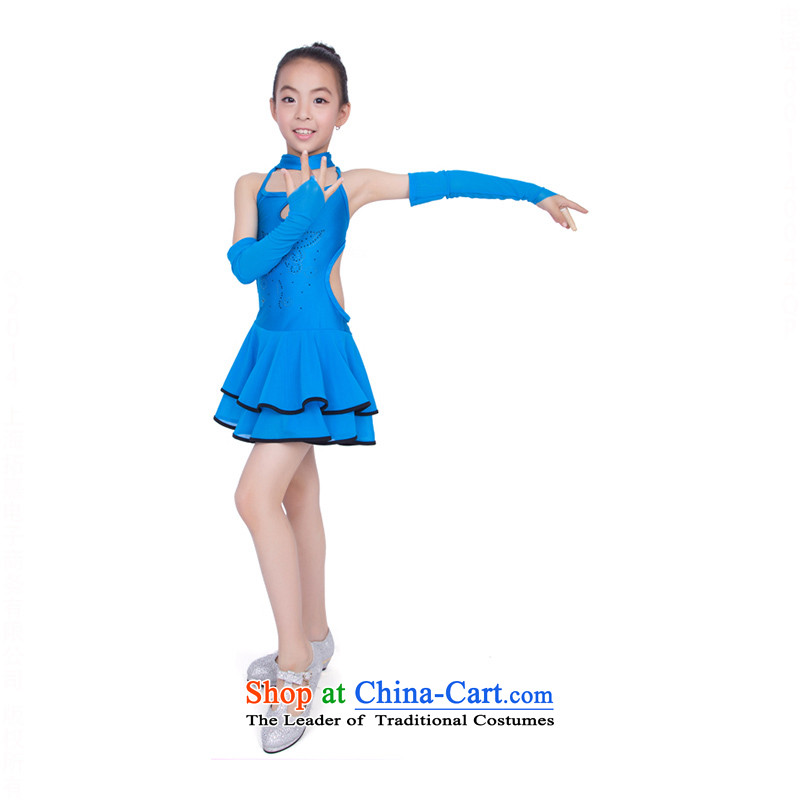 Children Dance wearing children costumes girls Latin Show Services Services聽TZ5108-0118 choral聽Blue聽130cm