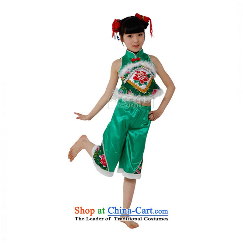 The National Children's costumes children national costumes dance costumes and early childhood yangkoTZ5108-0114green130cm