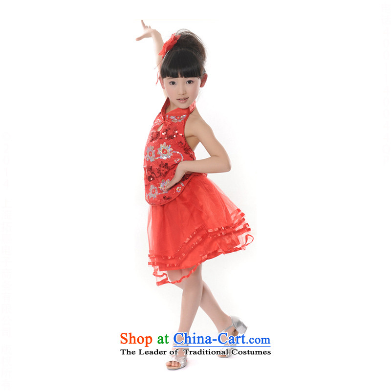 Children costumes girls modern light slice early childhood dress princess skirt dance TZ5108-0122 clothing red 150cm