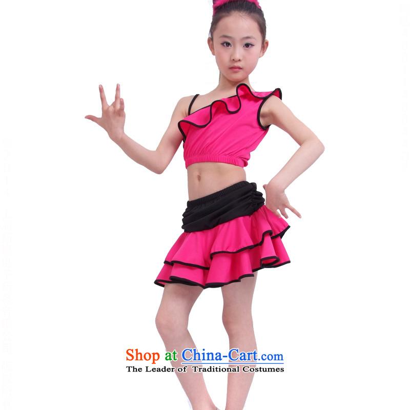 Children Latin dance skirt costumes girl child care Latin American Dance exercise clothingTZ5108-0125better red140cm