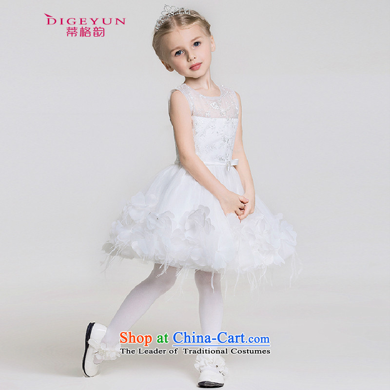The following children dress Korean White Lace Embroidery dress skirt Flower Girls dress skirt children will White?150