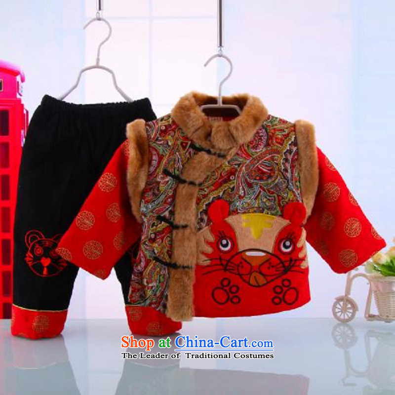 Hot Sales for 2014 Tang dynasty baby Birthday Boy New Year Boxed Kit Tang dynasty cotton coat whooping dress format5248 Red 120