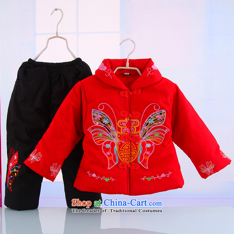 Winter new girls New Year holiday butterfly Tang Dynasty Package your baby girl pure cotton warm thick Tang dynasty 5250 Red 120