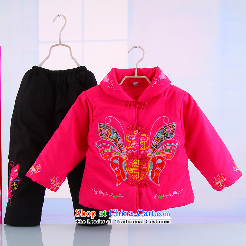 Winter new girls New Year holiday butterfly Tang Dynasty Package your baby girl pure cotton warm thick Tang dynasty 5250 Red 120 Bunnies Dodo xiaotuduoduo) , , , shopping on the Internet