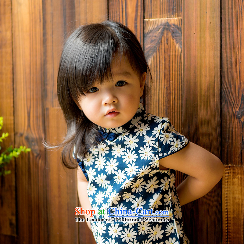 Mr Tang dynasty qipao children, girls short-sleeved dresses and pure cotton small daisies China wind baby blue skirt 120