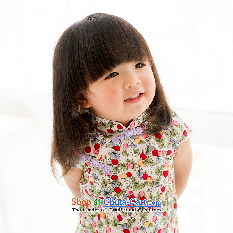 Mr Tang dynasty qipao children, girls show services short-sleeved dresses pure cotton Cherry Flowers Chinese baby skirt suits?120